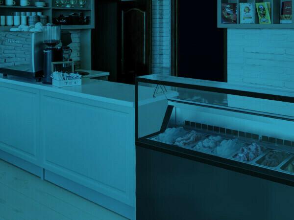 Glass door and solid door upright freezers, ice cream scoop displays, chest freezers for ice cream and pastry